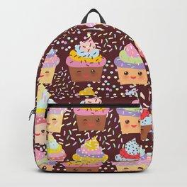 Cupcake Kawaii funny muzzle with pink cheeks and winking eyes Backpack