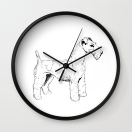 Wire Haired Fox Terrier Ink Drawing Wall Clock