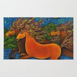 Wild Horses in the Moonlight Rug