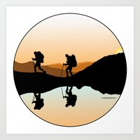 hiking Art Prints featuring HIKING by Şemsa Bilge (Semsa Fashion)