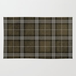 Grungy Brown Plaid Rug