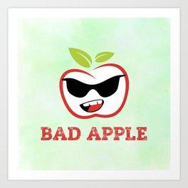 Bad Apple in Black Sunglasses with Attitude Art Print
