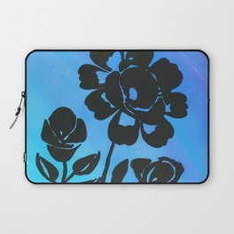 Rose Silhouette with Painted Blue Background Laptop Sleeve
