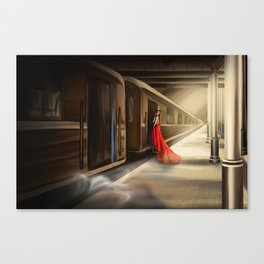 Girl in red at the train station Canvas Print