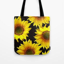 Large Sunflowers on a black background - #Society6 #buyart Tote Bag