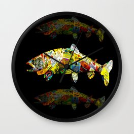 FATHER  LIKES FISH AND BOURBON POP ART Wall Clock