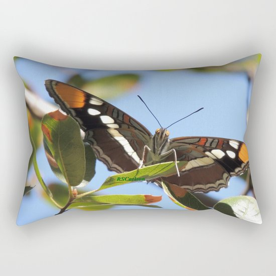 California Sister Butterfly on Oak Leaves Rectangular Pillow