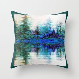 BLUE MOUNTAIN TREES & LAKE REFLECTION Throw Pillow