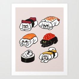 Sushi Bichon Frise Art Print