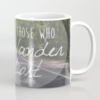 not all who wander Mugs featuring Not all those who wander... by AnchorMySoul