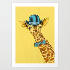 I'm too SASSY for my hat! Vintage Painted Giraffe. Art Print