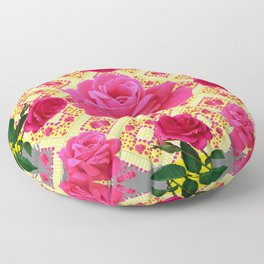 PINK GARDEN ROSES PATTERN  GREY ABSTRACT Floor Pillow