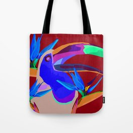 Toucan with flowers Tote Bag