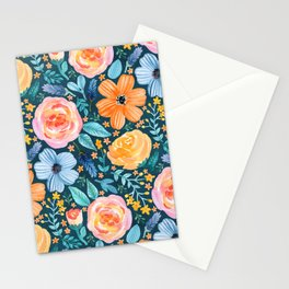 Bold Blooms on Dark Teal Stationery Cards