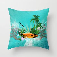 surfing Throw Pillows featuring Surfing by nicky2342