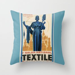 1938 Art deco Textile Expo Brussels Throw Pillow