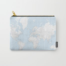 World map, highly detailed in light blue and white, square Carry-All Pouch