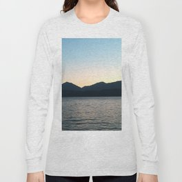 Sunset and Crescent Moon over the Water Long Sleeve T-shirt