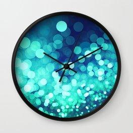 Aqua Blue Glitter Wave Wall Clock
