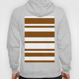 Mixed Horizontal Stripes - White and Chocolate Brown Hoody