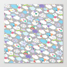 Clouds and Rainbows Kawaii Pattern Canvas Print