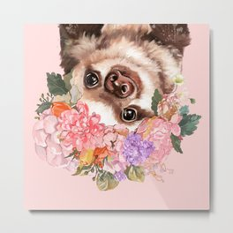 Baby Sloth with Flowers Crown in Pink Metal Print