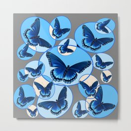 ABSTRACT MODERN ART CIRCLE PATTERNED  BLUE BUTTERFLY FLOCK Metal Print