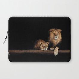 Portrait of Lion Family on dark background - vintage nature photo Laptop Sleeve