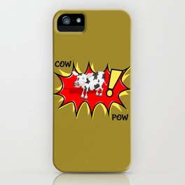 Cow in a KAPOW starburst iPhone Case
