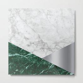 Geometric White Marble - Green Granite & Silver #999 Metal Print