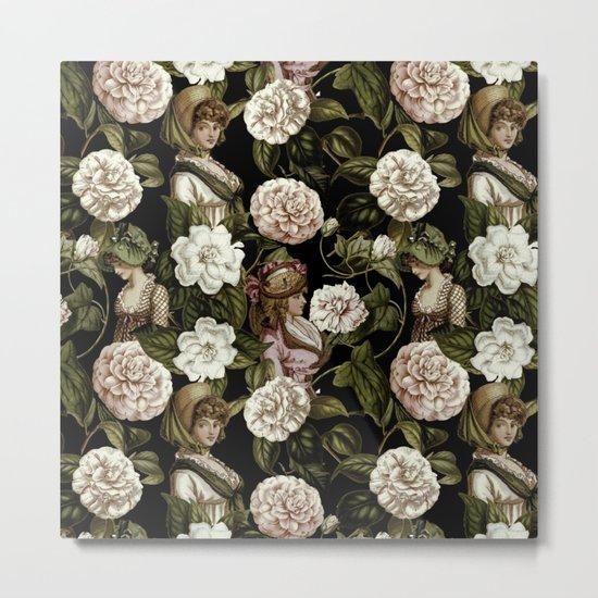 Vintage Botanical Flower Lady Pattern Metal Print