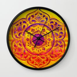"""SACRED GEOMETRY"" WATERCOLOR MANDALA (HAND PAINTED) BY ILSE QUEZADA Wall Clock"