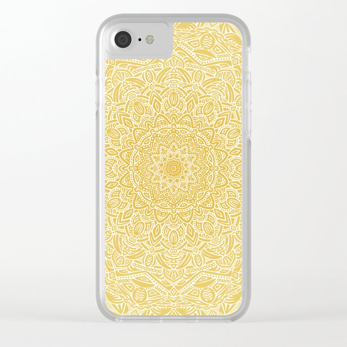 Most Detailed Mandala! Yellow Golden Color Intricate Detail Ethnic Mandalas Zentangle Maze Pattern Clear iPhone Case