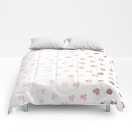 Rose Gold Pink Polka Splotch Dots on White Comforters