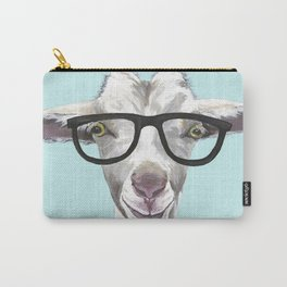 Goat with Glasses, Cute Farm Animal Carry-All Pouch