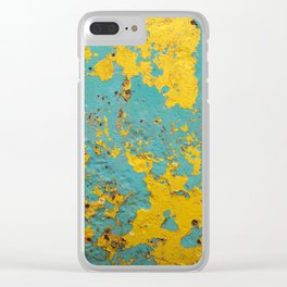 yellow and blue worn paint and rust texture Clear iPhone Case