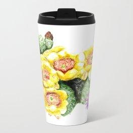 Desert Cactus Art Print, Flower Painting, Watercolor Art Metal Travel Mug