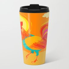 Orange Rooster Metal Travel Mug
