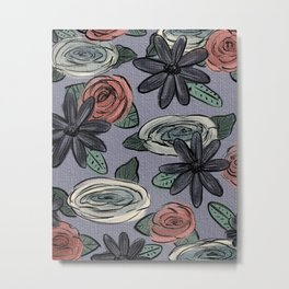 Purple Floral Print Metal Print