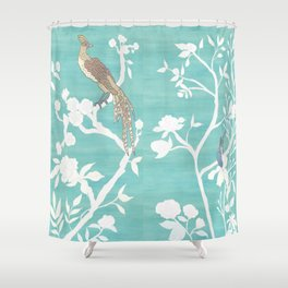 Chinoiserie Panels 4-5 White Scene on Teal Raw Silk - Casart Scenoiserie Collection Shower Curtain