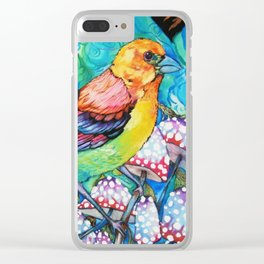 birds and mushrooms Clear iPhone Case