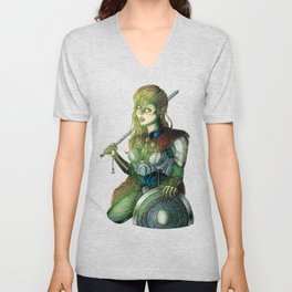 Portrait of Shieldmaiden Unisex V-Neck
