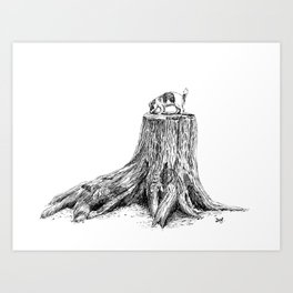 Lily on a tree stump Art Print