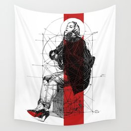 Red Lines. T. Golden Ratio. Baphomet. Yury Fadeev Wall Tapestry