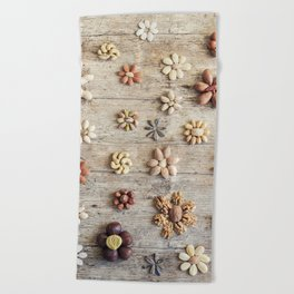 Dried fruits arranged forming flowers (4) Beach Towel
