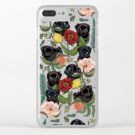 Botanical and Black Pugs Clear iPhone Case