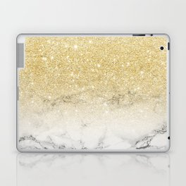 Modern faux gold glitter white marble color block Laptop & iPad Skin