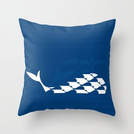 Whale in Blue Ocean with a Love Heart Throw Pillow