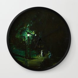 Central Park, Summer Night, Riverside Drive landscape by George Wesley Bellows Wall Clock