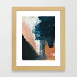 Vienna: a minimal, abstract mixed-media piece in pinks, blue, and white by Alyssa Hamilton Art Framed Art Print